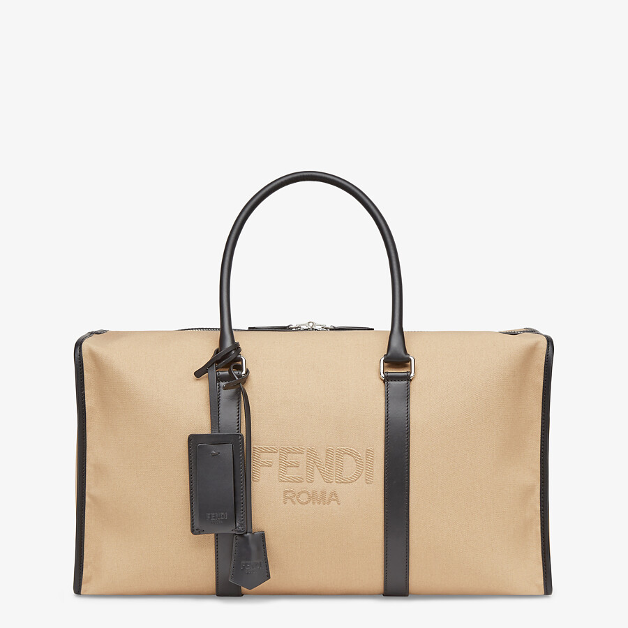 FENDI LARGE DUFFEL BAG - Large beige canvas bag - view 1 detail