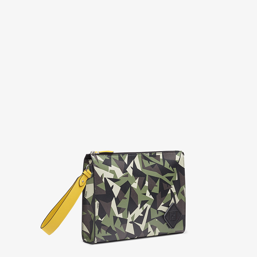 FENDI FLAT POUCH - Green leather pouch - view 2 detail