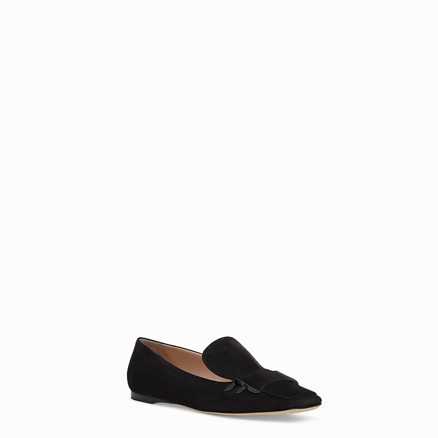 FENDI LOAFERS - Black nubuck flat loafers - view 2 detail