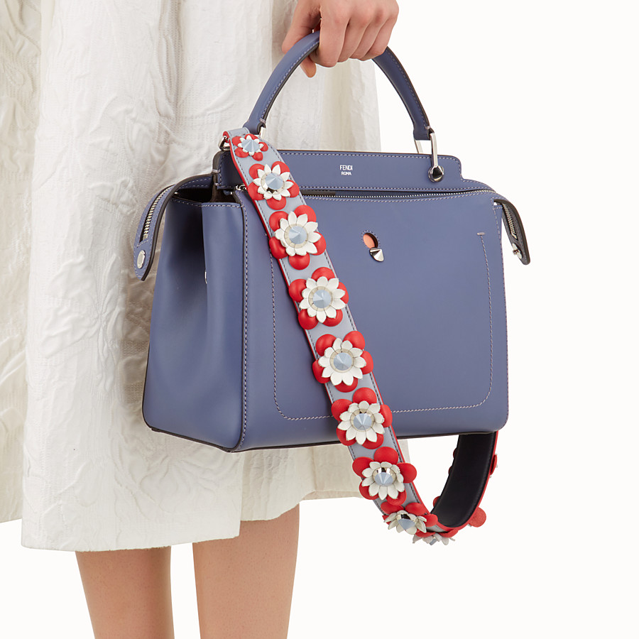 FENDI STRAP YOU - Shoulder strap in gray leather with flowers - view 2 detail