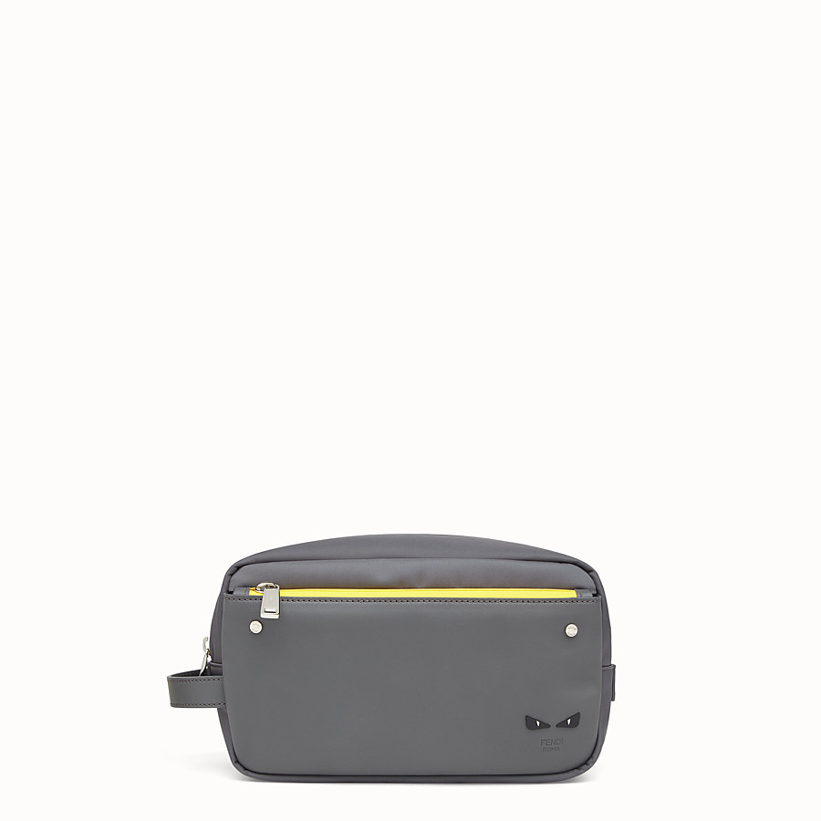 FENDI TOILETRY CASE - Grey fabric and leather pouch - view 1 detail