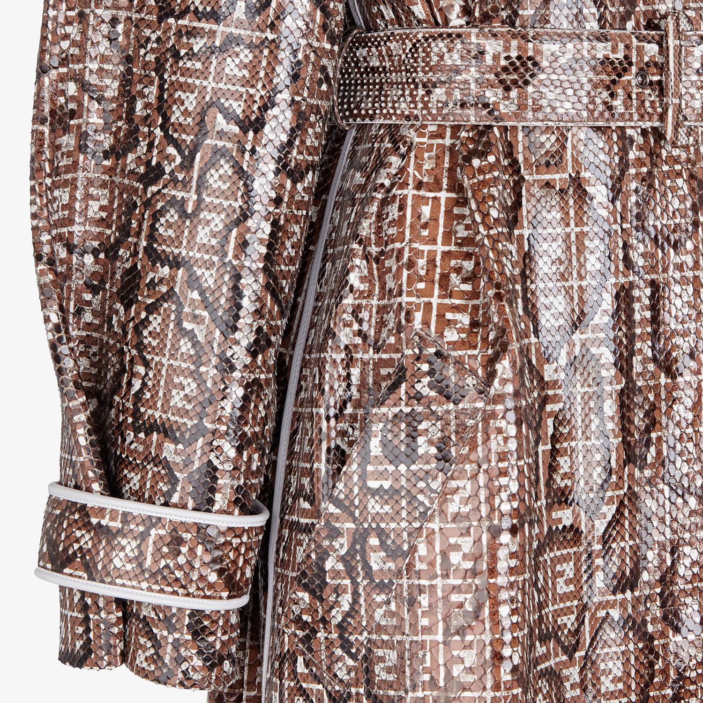 FENDI OVERCOAT - Brown python trench coat - view 3 detail