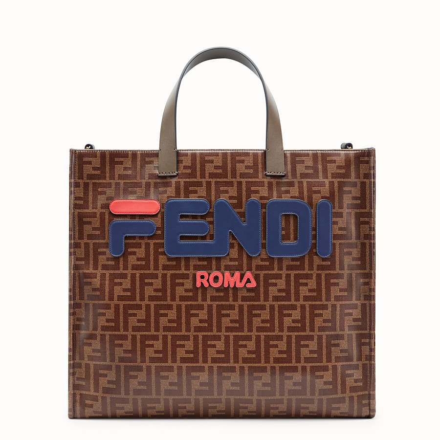 FENDI SHOPPER - Glazed multicolour fabric bag - view 1 detail