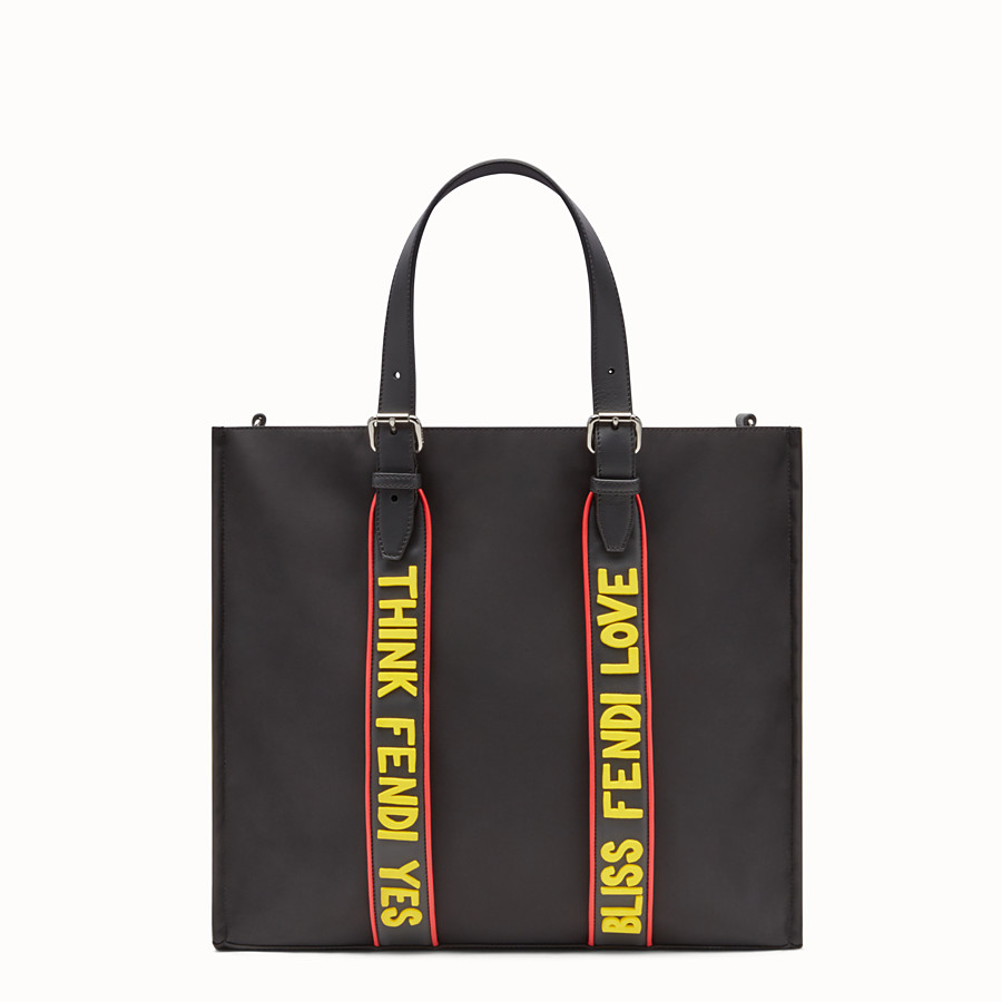FENDI TOTE BAG - Shopper bag in black nylon and leather - view 1 detail