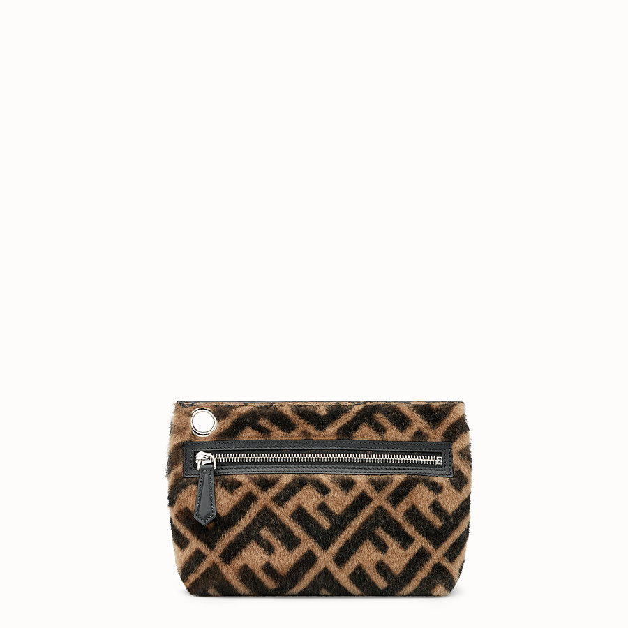 FENDI MEDIUM PYRAMID POUCH - Multicolor shearling pouch - view 1 detail