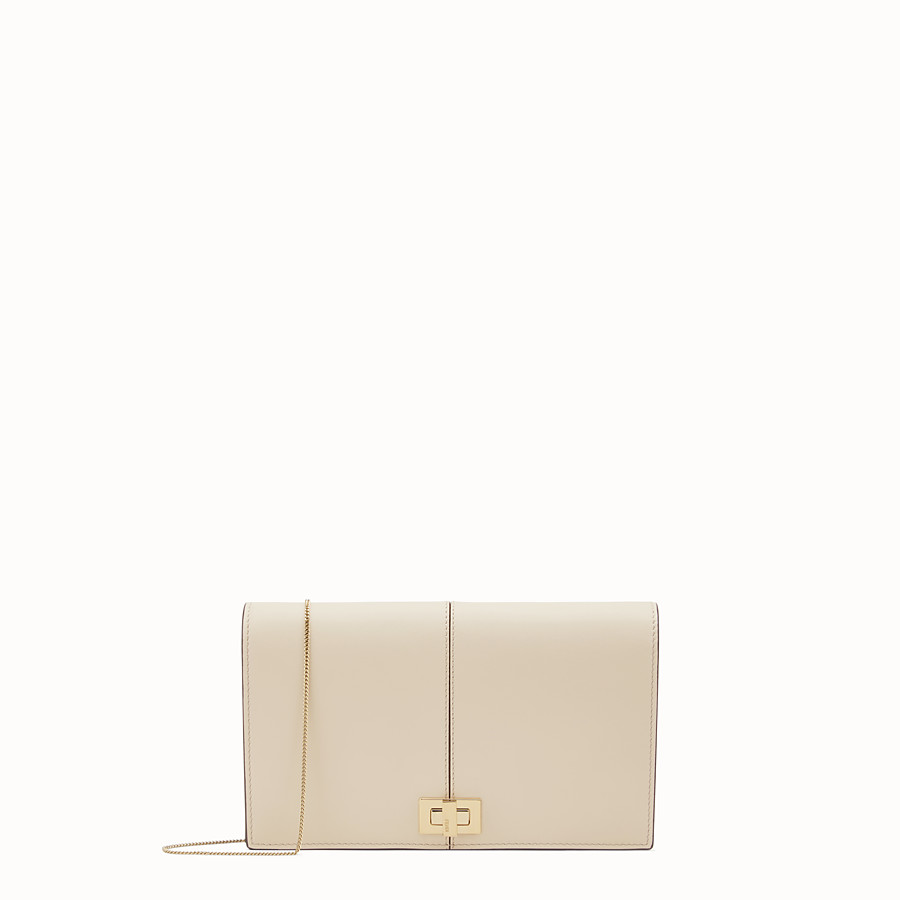 FENDI WALLET ON CHAIN - Beige leather mini-bag - view 1 detail