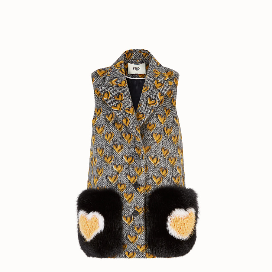 FENDI GILET - Multicolour mohair wool gilet - view 1 detail