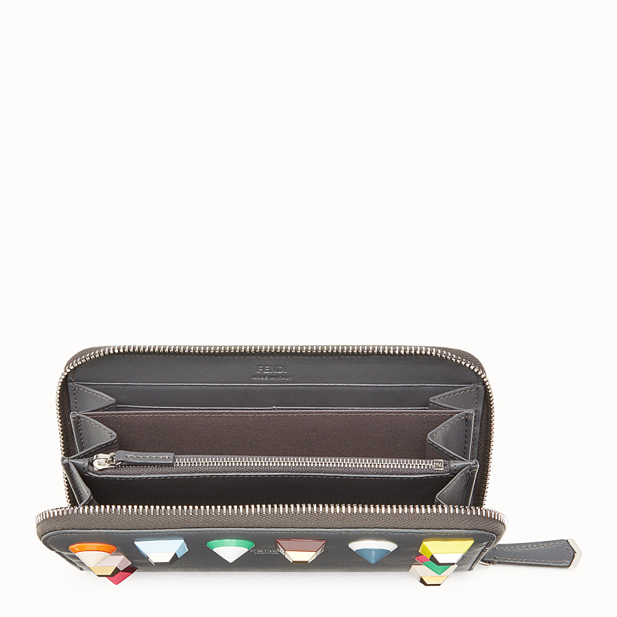 FENDI ZIP-AROUND - Grey leather wallet - view 4 detail
