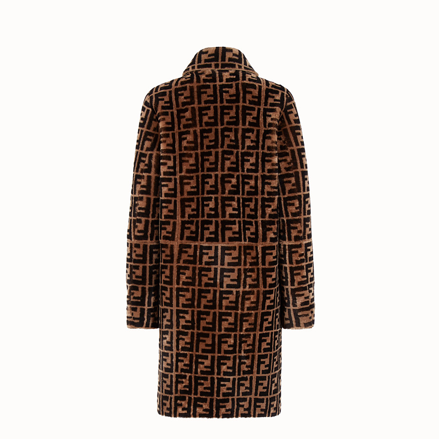 FENDI OVERCOAT - Brown shearling coat - view 2 detail