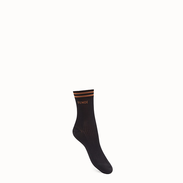 FENDI SOCKS - Black knitted socks - view 1 small thumbnail
