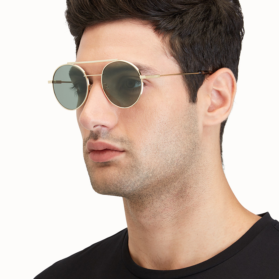 FENDI FENDI AIR - 金色鍍層飾面金屬太陽眼鏡 - view 4 detail