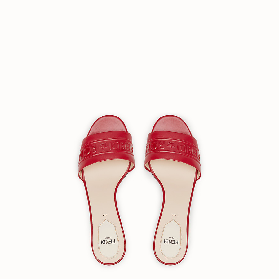 FENDI SANDALS - Red leather slides - view 4 detail