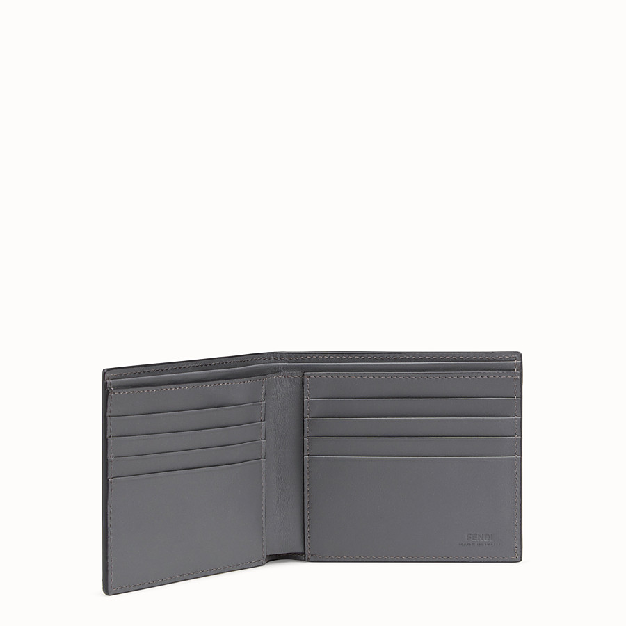 FENDI WALLET - Grey leather bi-fold wallet - view 3 detail