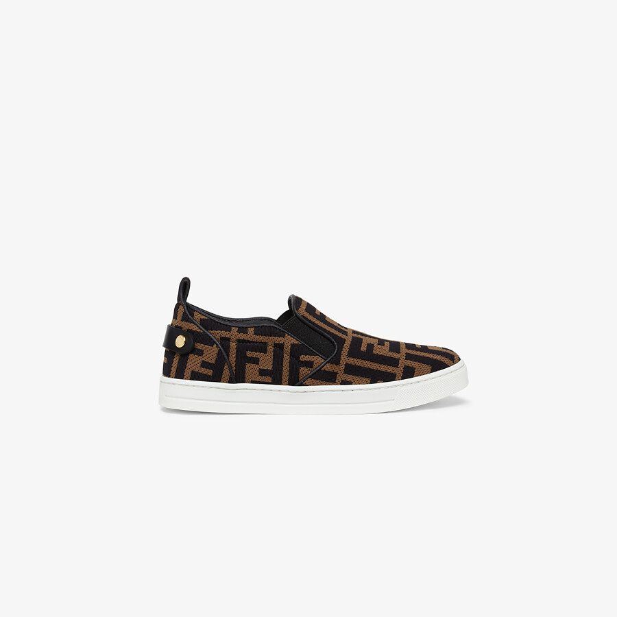 FENDI JUNIOR SLIP ONS - Fabric junior slip-ons with all-over FF logo - view 1 detail