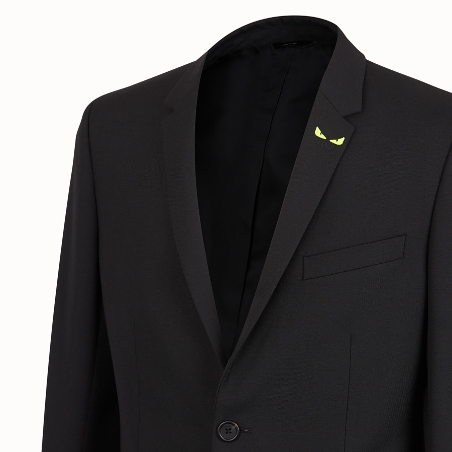 FENDI JACKET - Black wool gabardine blazer - view 4 detail