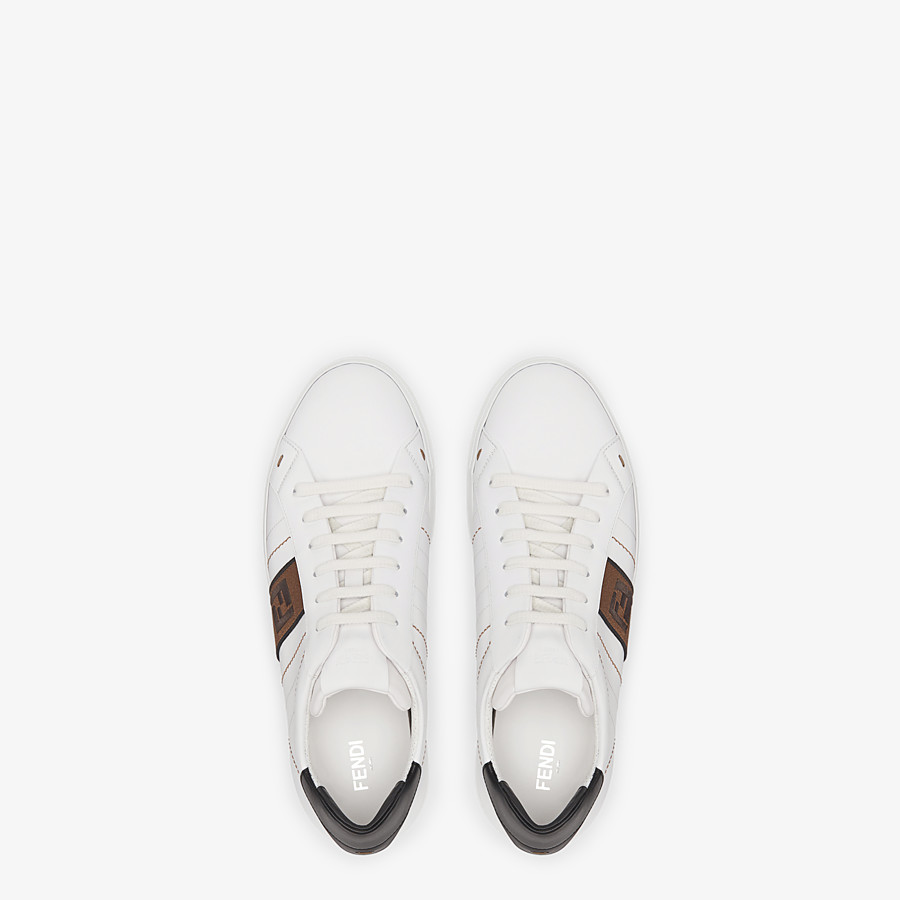 FENDI SNEAKERS - White leather low-tops - view 4 detail