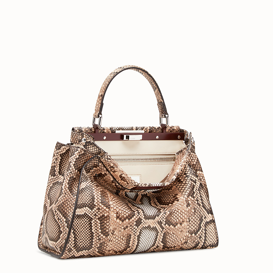 FENDI PEEKABOO REGULAR - Beige python bag - view 2 detail
