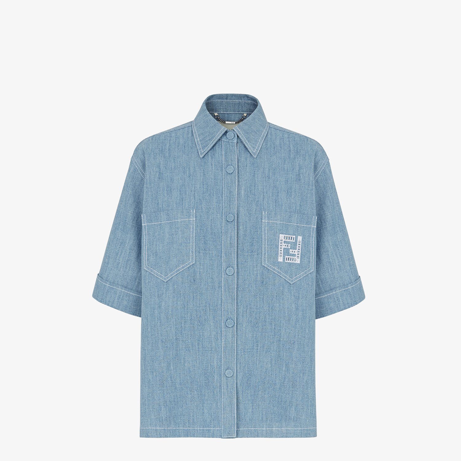 FENDI SHIRT - Light blue chambray shirt - view 1 detail