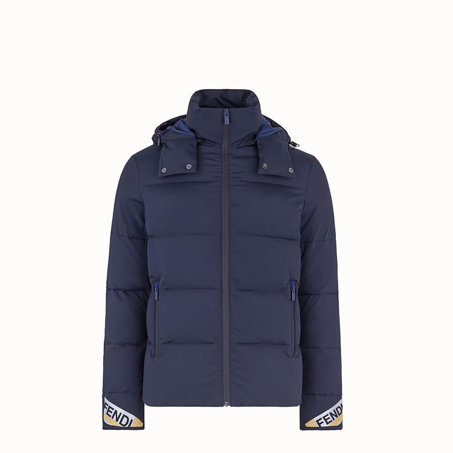 FENDI DOWN JACKET - Blue nylon down jacket - view 1 detail