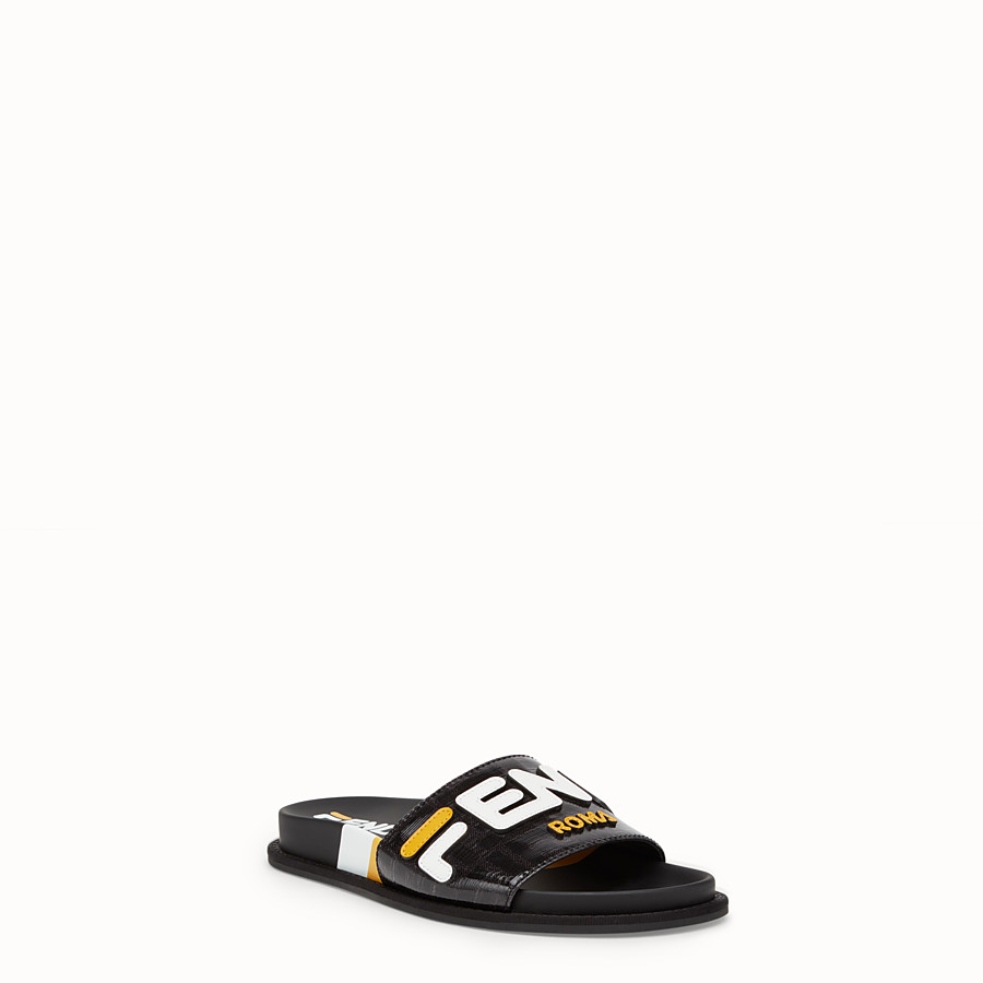FENDI SLIDES - Black fabric slides - view 2 detail