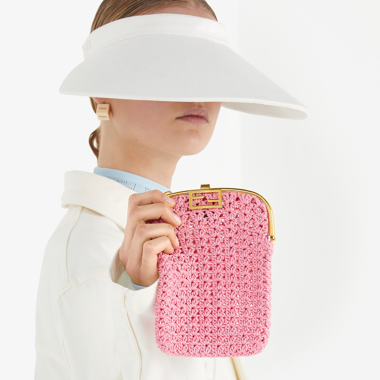 FENDI BAGUETTE PHONE BAG - Pink fabric mini-bag - view 5 detail