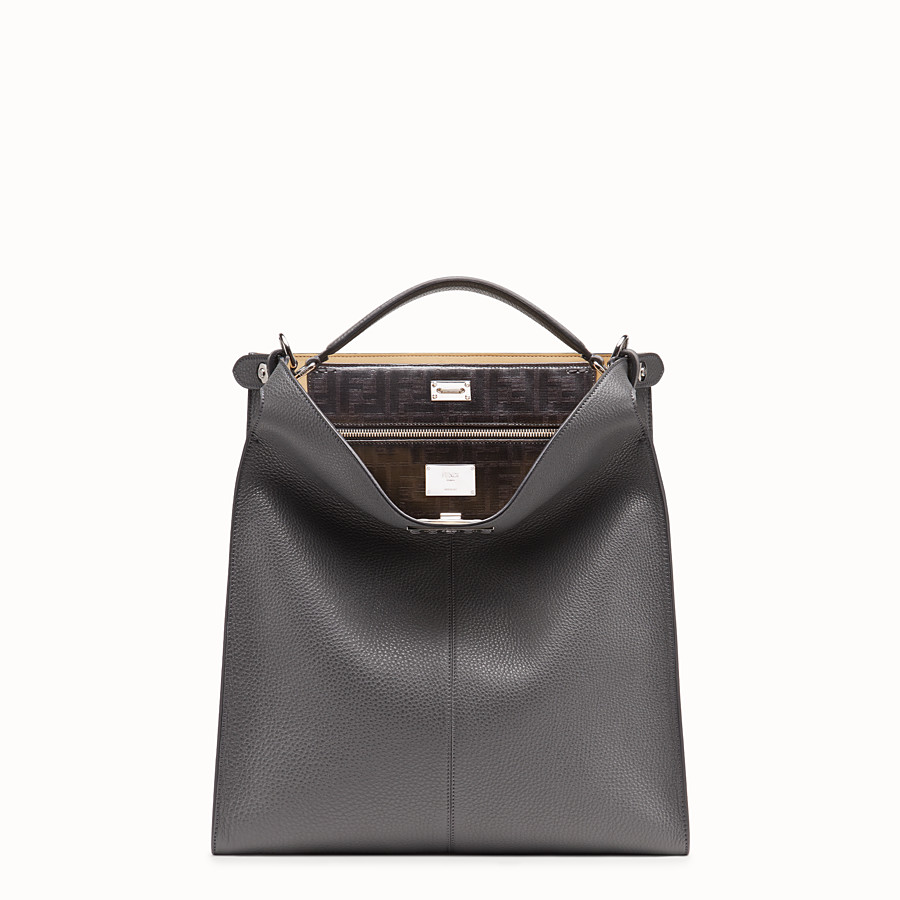 FENDI PEEKABOO X-LITE FIT - Tasche aus Leder in Grau - view 2 detail