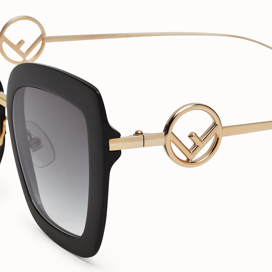 FENDI F IS FENDI - Black acetate and metal sunglasses - view 3 detail