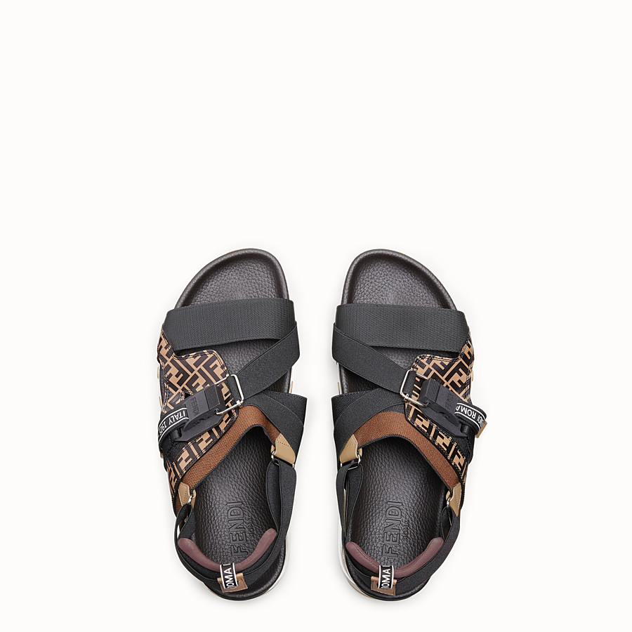 FENDI SANDALS - Multicolour PU and leather sandals - view 4 detail