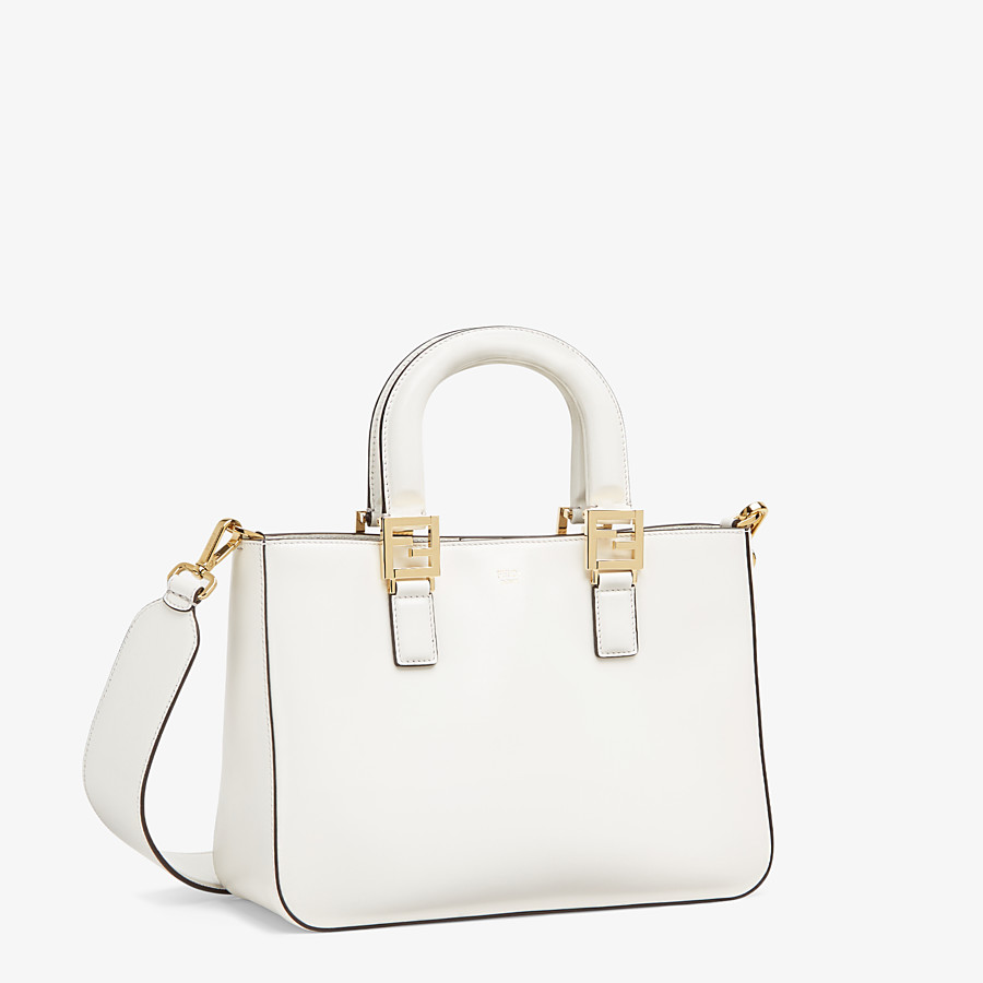 FENDI FF TOTE SMALL - White leather bag - view 2 detail