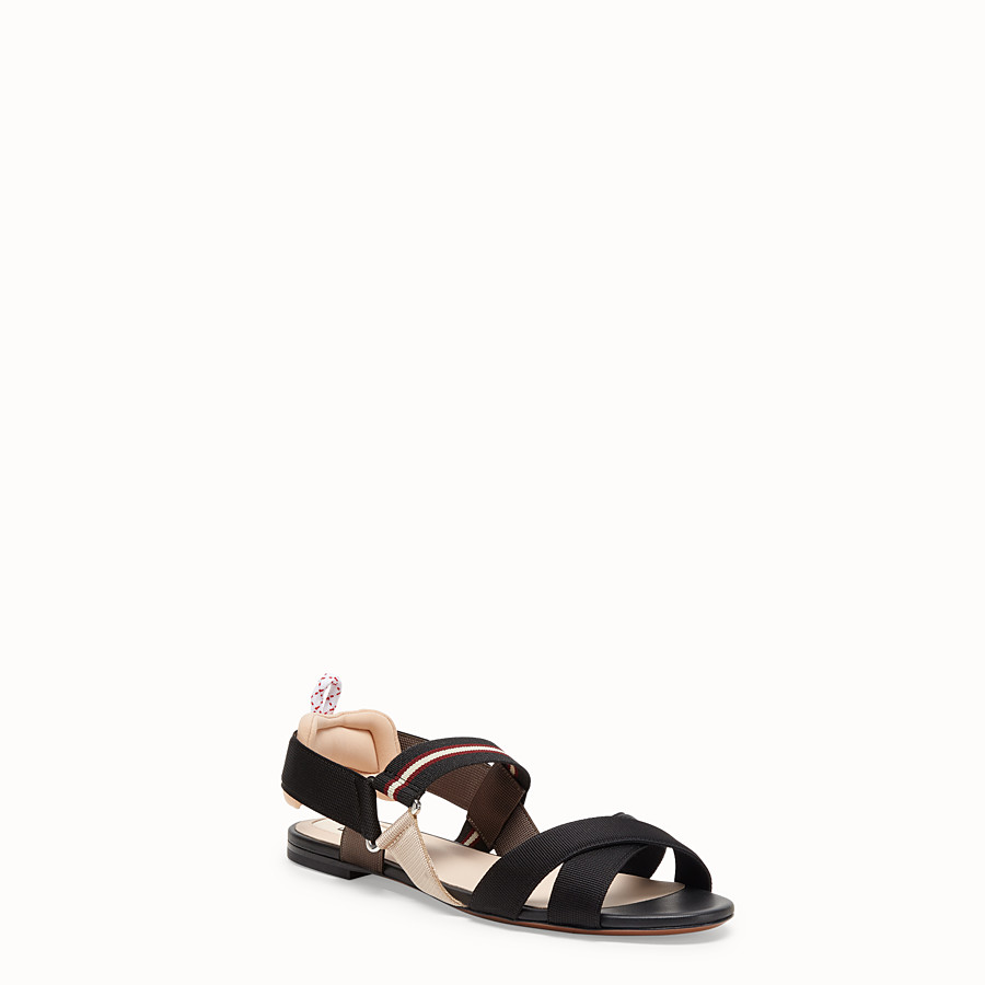 FENDI SANDALS - Beige tech fabric flats - view 2 detail