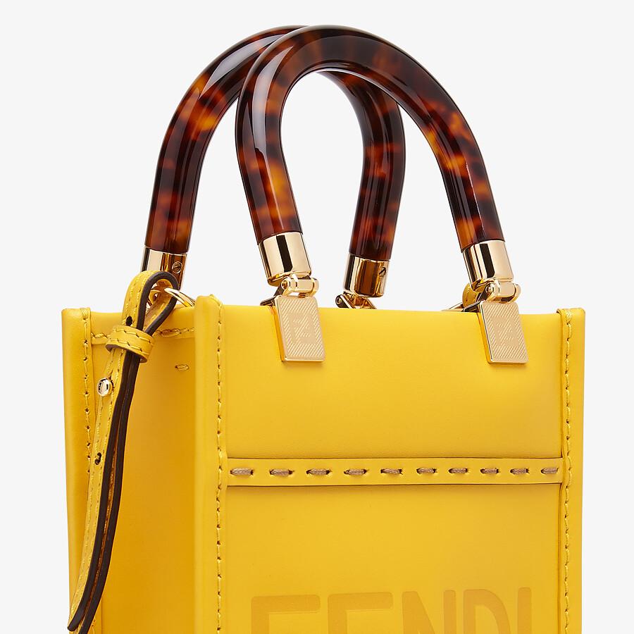 FENDI MINI SUNSHINE SHOPPER - Yellow leather mini-bag - view 5 detail