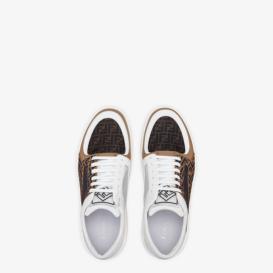 FENDI SNEAKERS - Brown leather low tops - view 4 detail