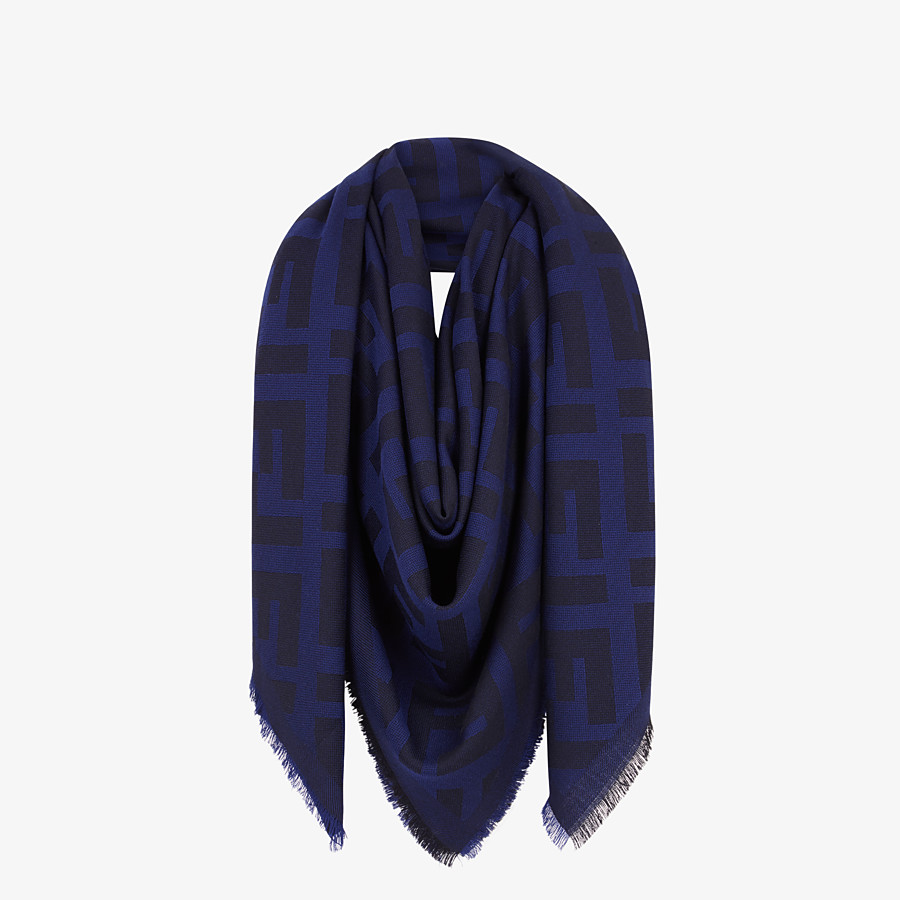 FENDI FF SHAWL - Blue wool and cashmere shawl - view 2 detail