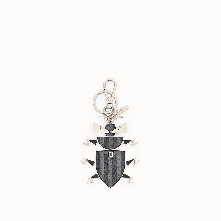 FENDI KEY RING - Metal key ring with multicolour exotic leather details - view 1 detail