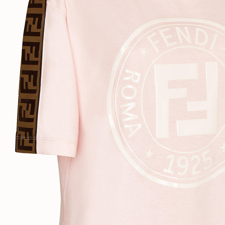 FENDI T-SHIRT - Pink cotton jersey T-shirt - view 3 detail