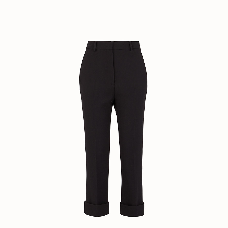 FENDI TROUSERS - Black wool crêpe trousers - view 1 detail
