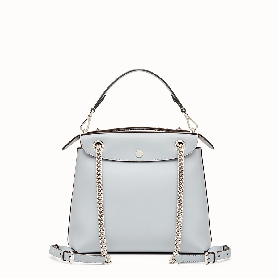FENDI BACK TO SCHOOL BACKPACK - Smooth light blue leather backpack - view 3 detail