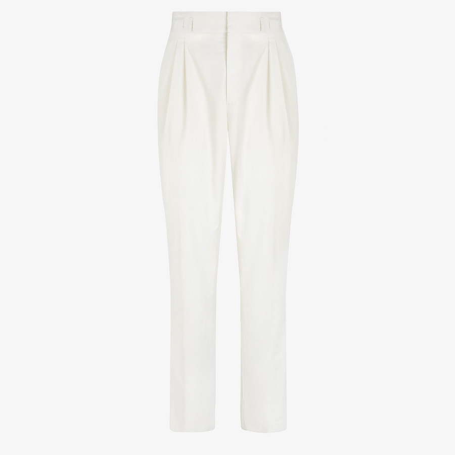 FENDI TROUSERS - White cotton trousers - view 1 detail