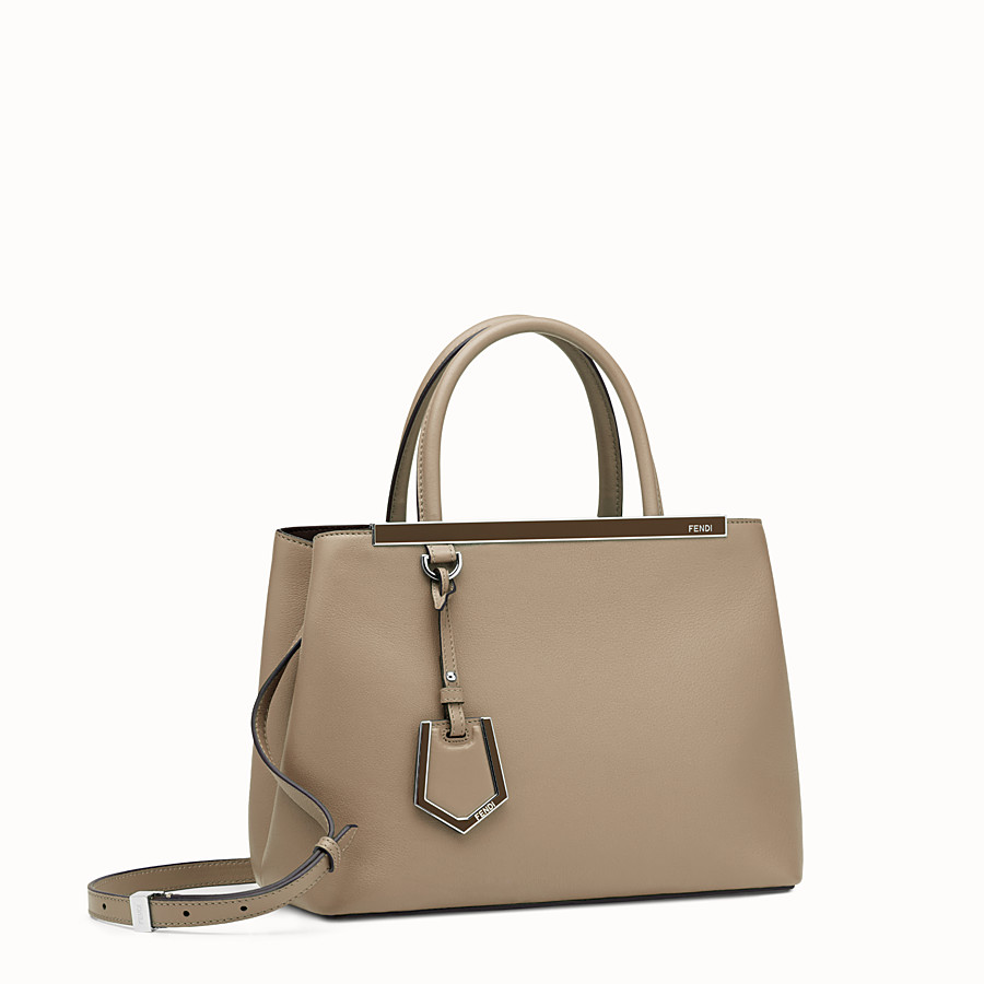 FENDI PETITE 2JOURS - Dove-grey leather shopper bag - view 2 detail
