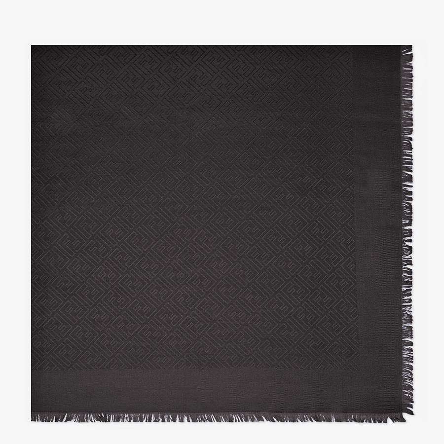 FENDI FF SHAWL - Black silk and jacquard wool shawl - view 1 detail
