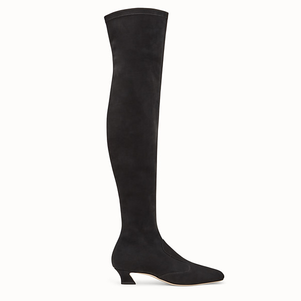 FENDI BOOTS - Black nubuck thigh-high boots - view 1 small thumbnail