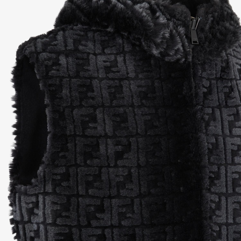 FENDI GILET - Black shearling gilet - view 3 detail