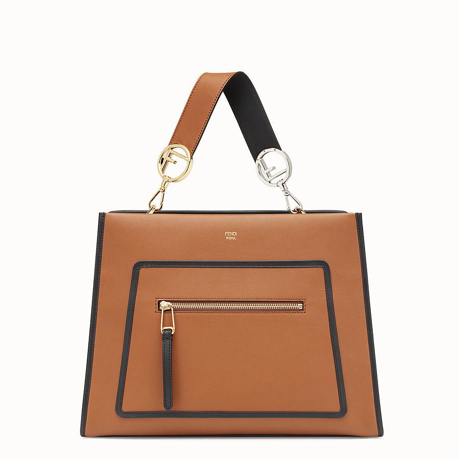 FENDI RUNAWAY REGULAR - Brown leather bag - view 1 detail