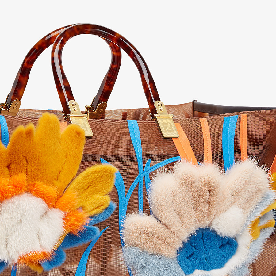 FENDI FENDI SUNSHINE XL - Mesh and mink shopper - view 6 detail