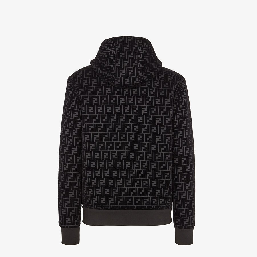 FENDI BLOUSON JACKET - Black jersey sweatshirt - view 2 detail