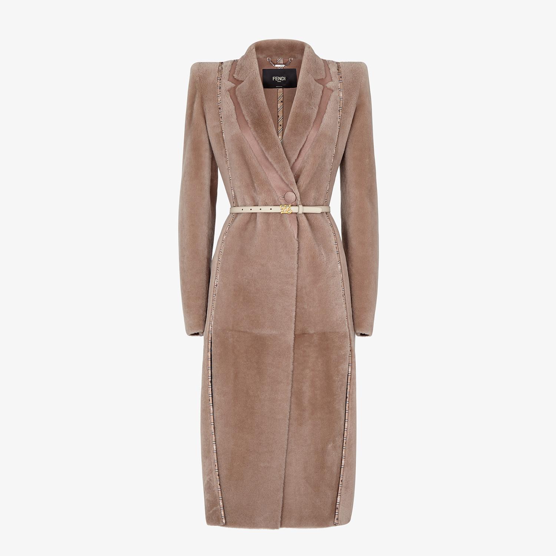 FENDI COAT - Beige shearling coat - view 1 detail