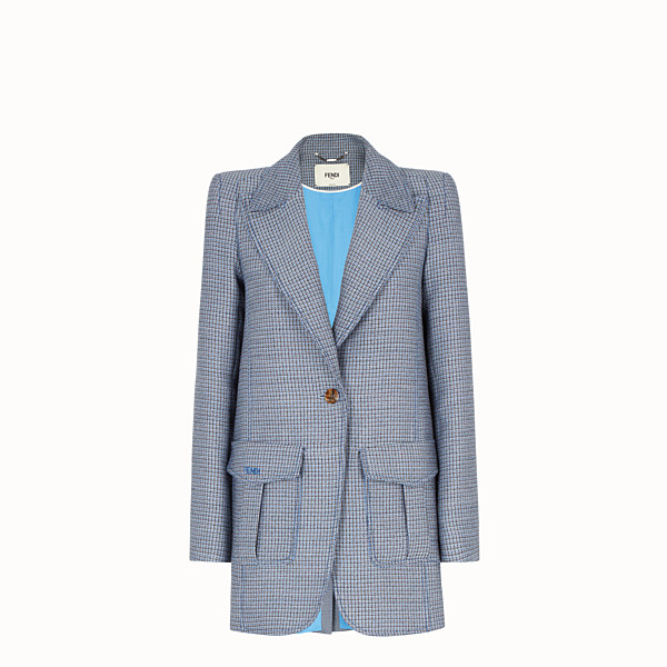 FENDI JACKET - Micro-check wool and silk blazer - view 1 small thumbnail