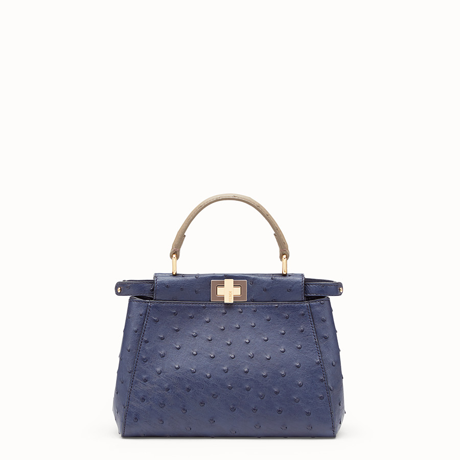 FENDI PEEKABOO MINI - Blue ostrich leather bag - view 1 detail