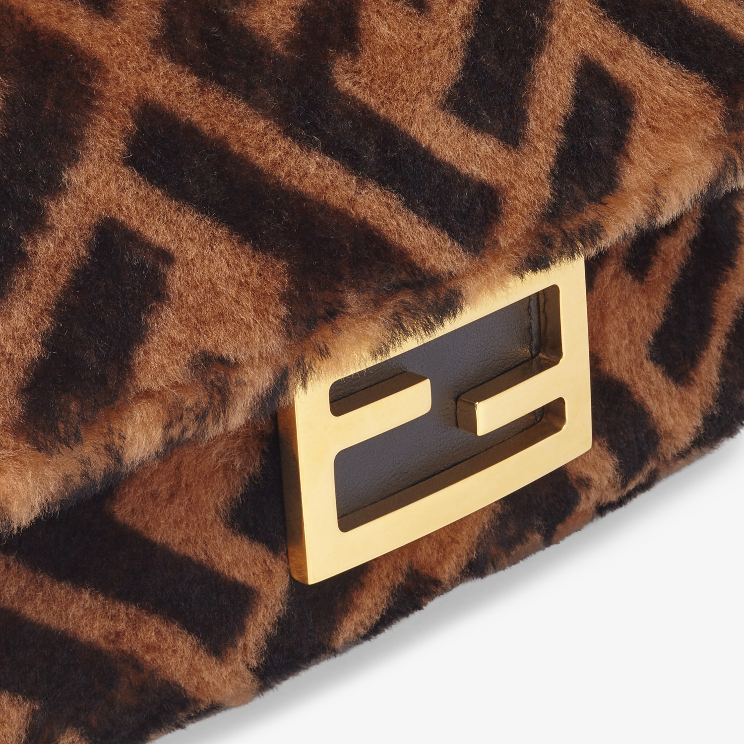 FENDI MINI BAGUETTE - Brown sheepskin bag - view 5 detail