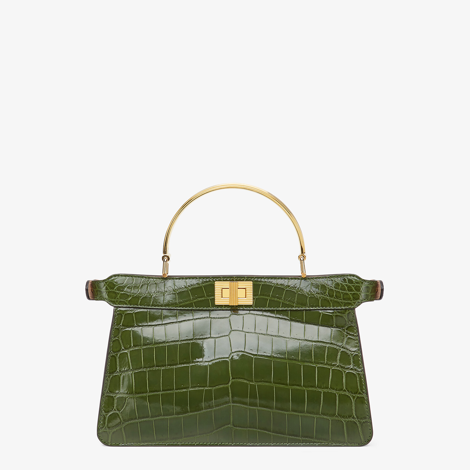 FENDI PEEKABOO I SEE U EAST-WEST - Green crocodile bag - view 4 detail